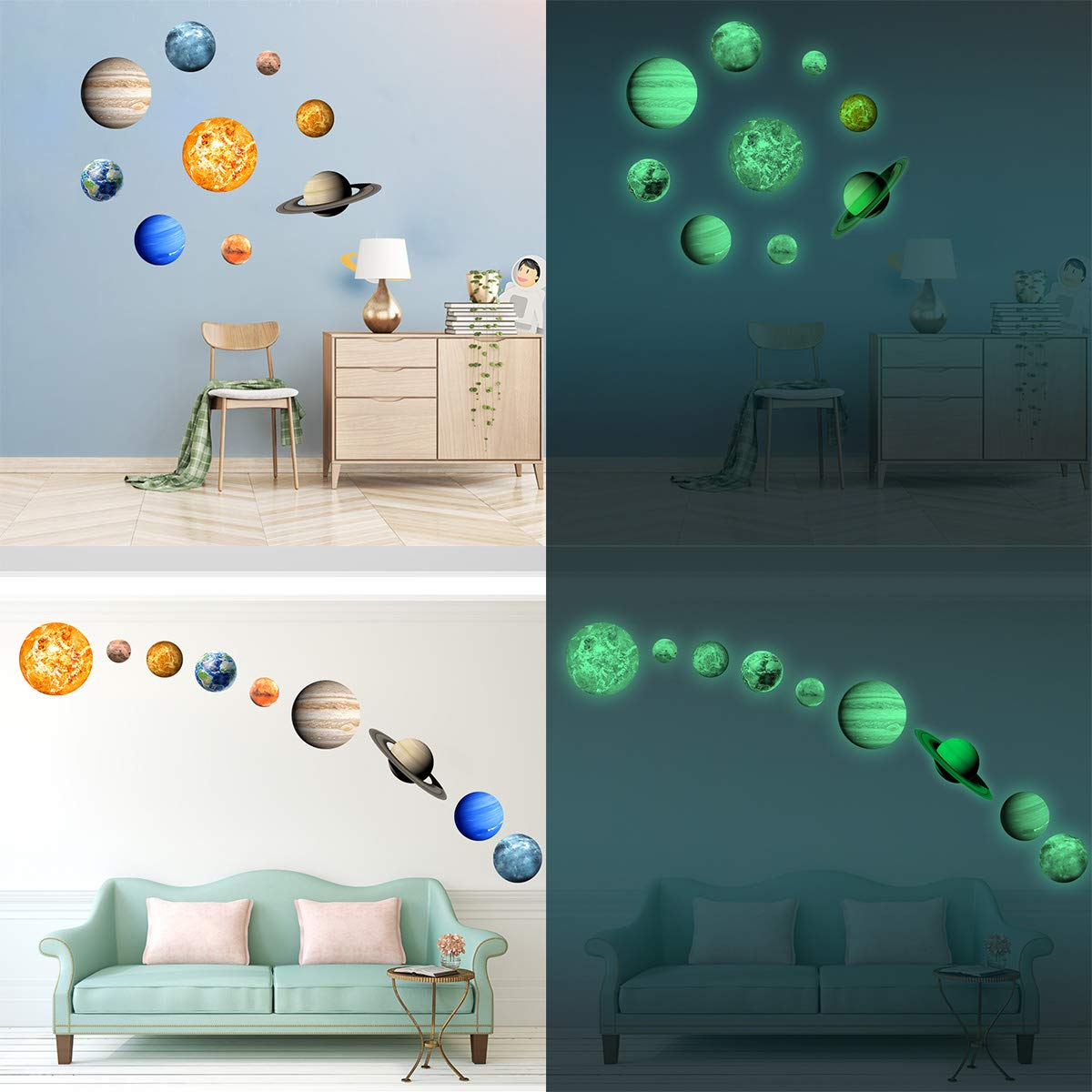 Etiqueta De La Pared Luminosa, 9 Planets Etiqueta De La Pared Del ...