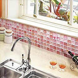 Beaustile Red Mosaic 3D Wall Sticker Home Decor Fire Retardant Backsplash Wallpaper Bathroom Kitchen DIY Plain Design