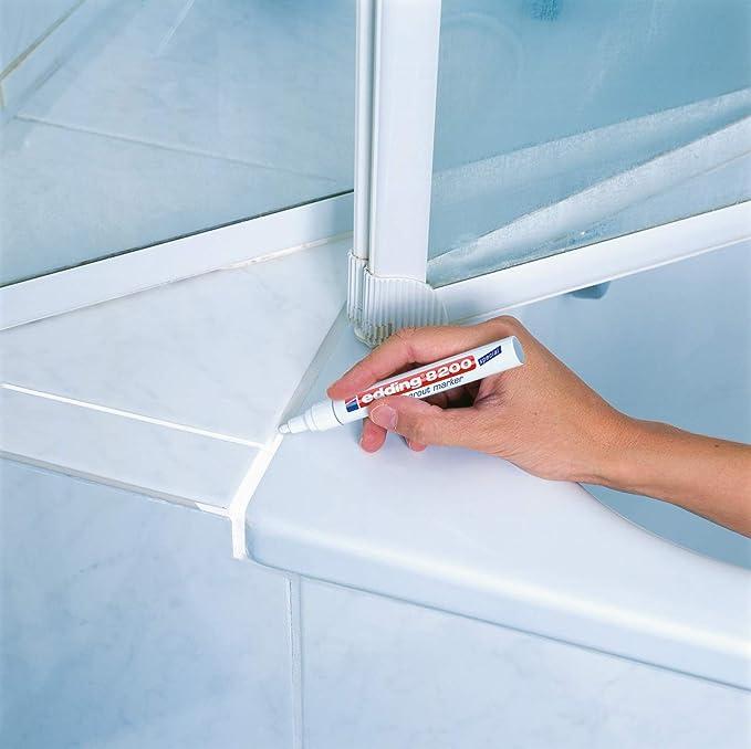 edding 8200 Marcatore per fughe sanitari punta conica; Blister 1 pz.; Colore bianco; Tratto 2-4 mm