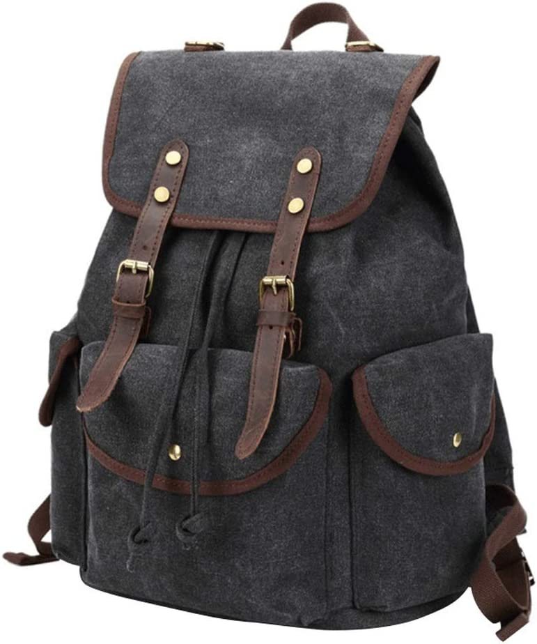 Color : Green, Size : Free Size Liweibao Mens Casual Canvas Laptop Backpack Vintage Travel Rucksack for Daily Outdoors School