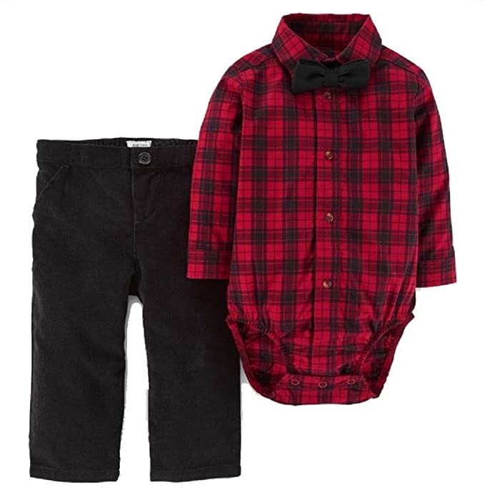 bb5915f5ddcc Amazon.com  Just One You Baby Boys  3pc Bow Tie   Pants Set Red ...