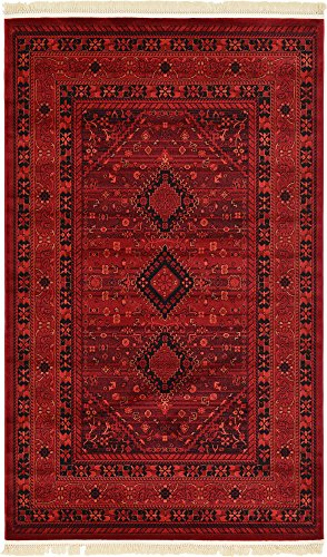 Unique Loom Tekke Collection Tribal Traditional Torkaman Red Area Rug (5' 0 x 8' 0) (Brand Rugs Tribal)