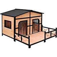 Petscene XXL Wooden Dog Kennel 2-Door Timber Pet House w/Patio Openable Gable Roof