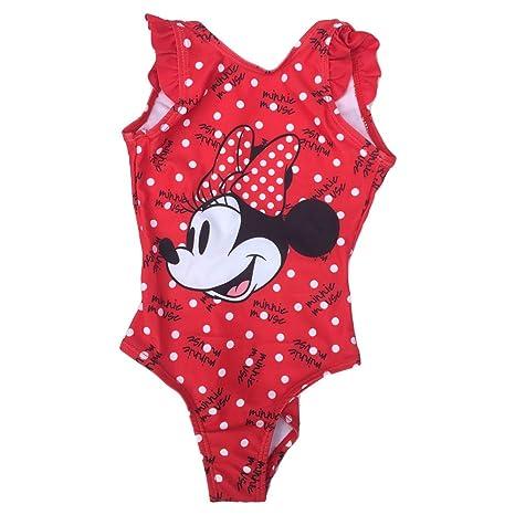 Disney SE1968ROSO - Traje de playa de Minnie Mouse, para niña ...
