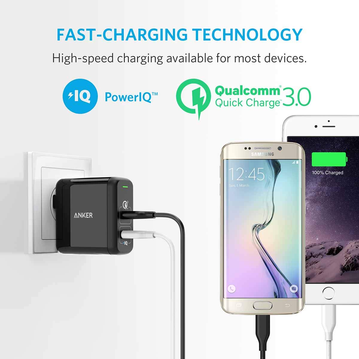 Anker Quick Charge 30 315w Dual Usb Wall Charger The Circuit Adapter Mobile Phones Phone Battery Powerport 2 For Galaxy S9 S8 S7 Edge Plus Note 8 7 And Poweriq Iphone