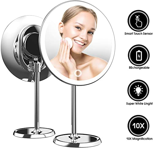 Fenair 9-Inch LED Lighted Magnifying Makeup Mirror with 10X Magnifier, Chargeable Makeup Mirror with Lights, Brightness Adjustable Silver