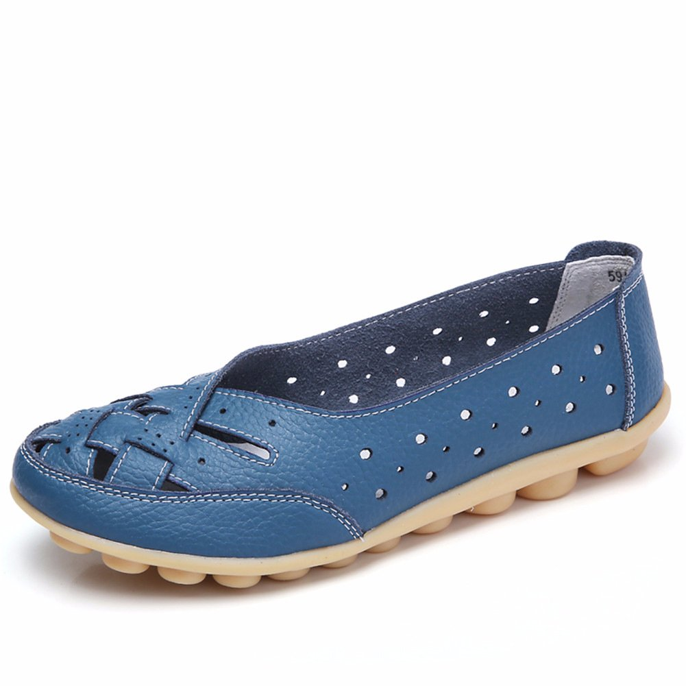 Panda Kelly Womens Moccasin Shoes Casual Loafers Genuine Leather Slippers Slip-on Flat Driving Hollow Shoes, Blue 9 (41)