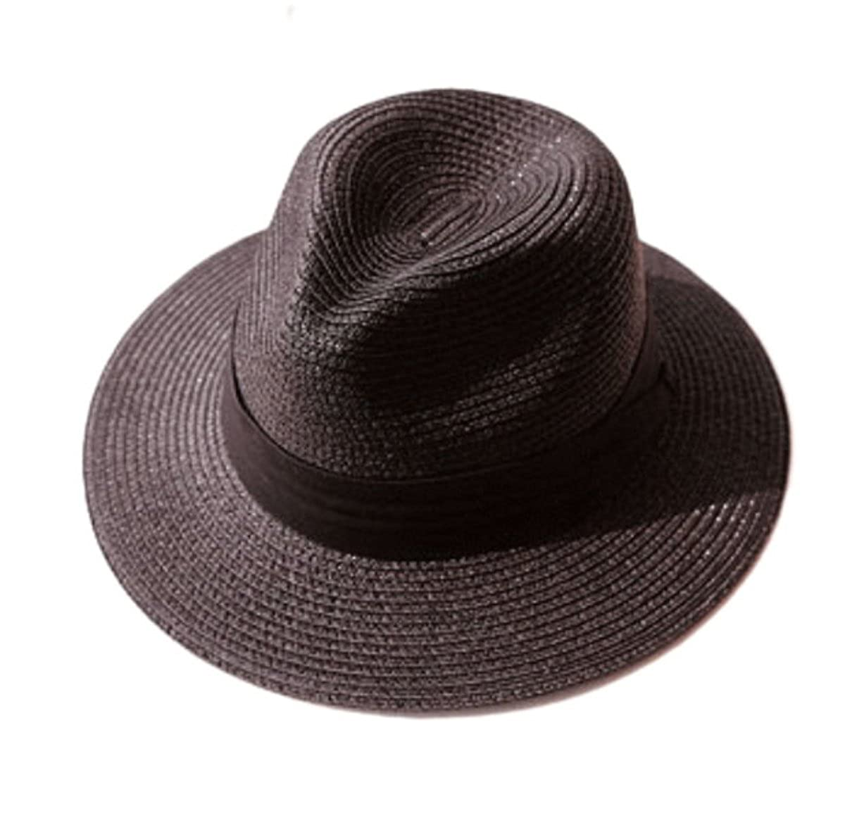 Tomily Women's Panama Hat Foldable Packable Straw Beach Summer Fedora Sun Hat (Black) MZS1-1