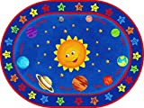 ECR4Kids Out of this World Alphabet Educational Rug, Oval, 6 x 9-Feet