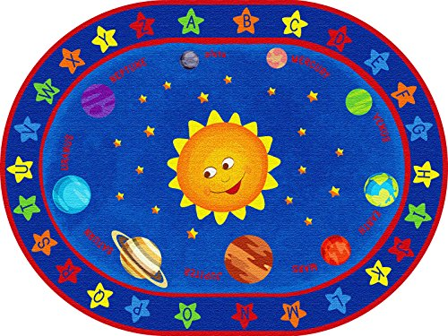 ecr4kids out of this world alphabet educational rug oval 6 x 9feet