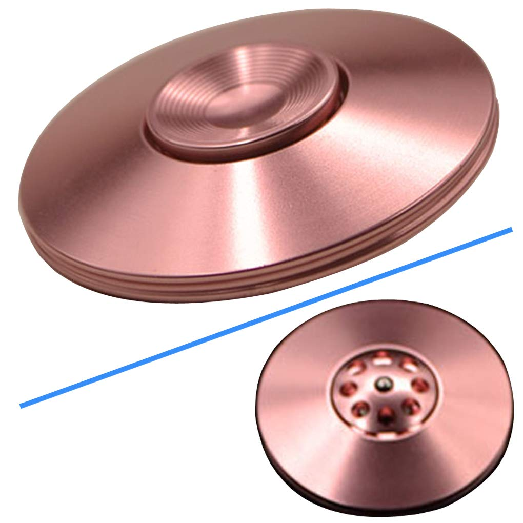 Spinning Tops Aluminum Alloy EDC Toy Novelty UFO Gyroscope The Perfect Balance Between Performance and Beauty Toys for Relaxation Desk Toy Present Unique Gift for All Ages (4# Pink)