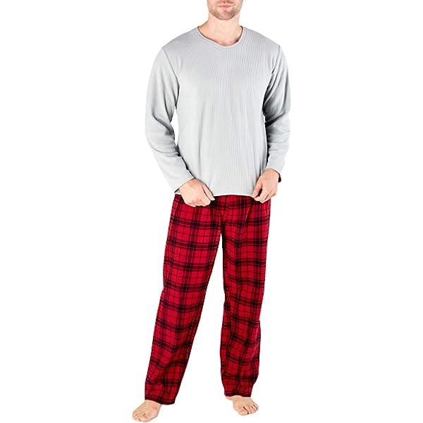 Harvey James con dise/ño a cuadros Pijama de forro polar t/érmico para hombre