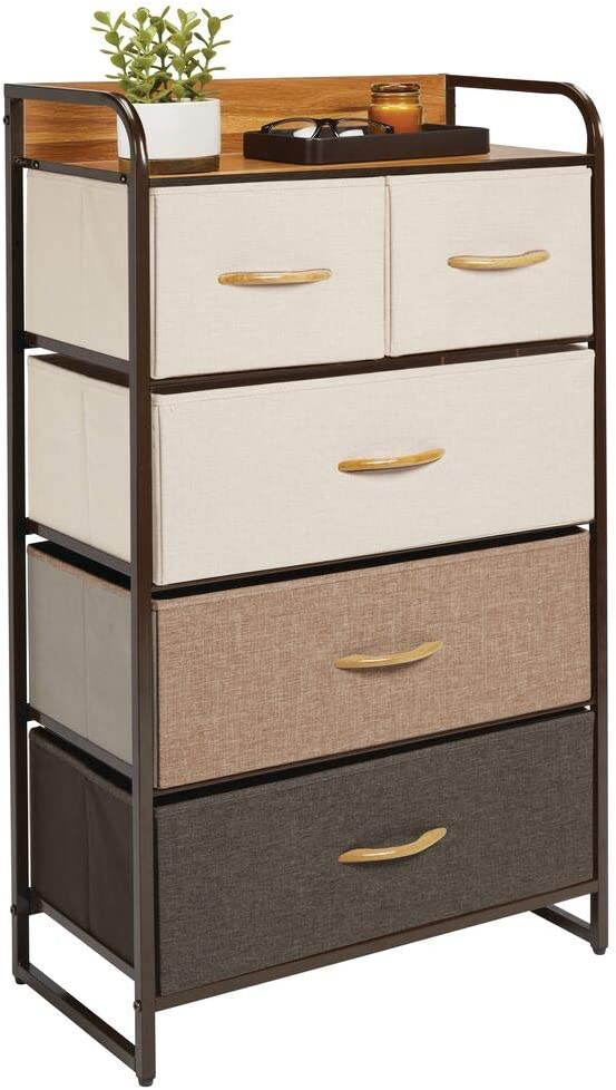mDesign Tall Chest of Drawers /— Bedroom Storage Drawers for Clothes Bedroom and Hallway Storage with 5 Drawers and Shelf Top /— Multi-Colour//Espresso Socks and More /— Landing