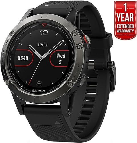 Garmin Fenix 5 Multisport 47mm GPS Watch – Slate Gray with Black Band 010-01688-00 1 Year Extended Warranty