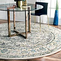 nuLOOM RZBD07B Traditional Persian Fancy Verona Round Rug, 5' , Grey