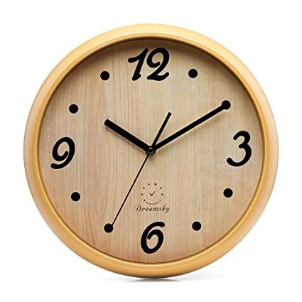 DreamSky 12u0026quot; Decorative Wall Clock, Non Ticking, Battery Operated  Quartz Analogy Wall