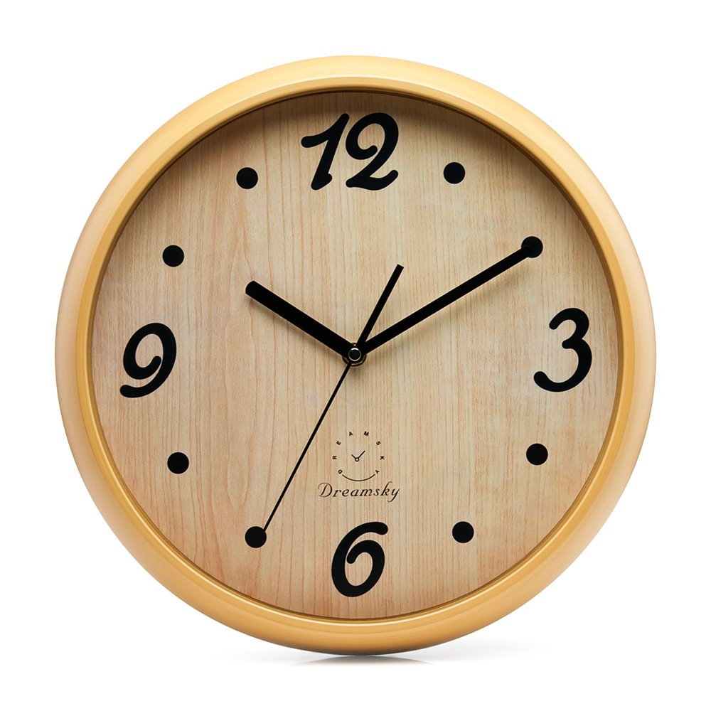 DreamSky 12'' Decorative Wall Clock, Non-Ticking, Battery Operated Quartz Analogy Wall Clocks for Living Room/Kitchen/Classroom/Office, Cultured Wood Style.