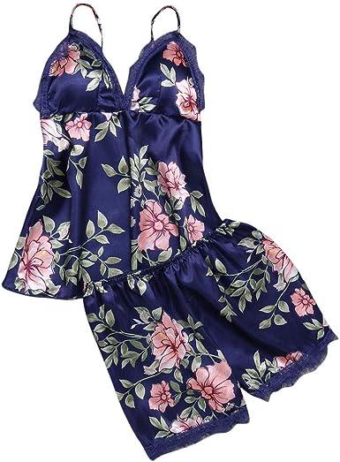Pijama Floral Mujer Verano Bata Sexy de Talla Grande Conjunto de Ropa de Dormir Cuello V Transparente Camisola Larga con Calzoncillos Cortos Traje de ...