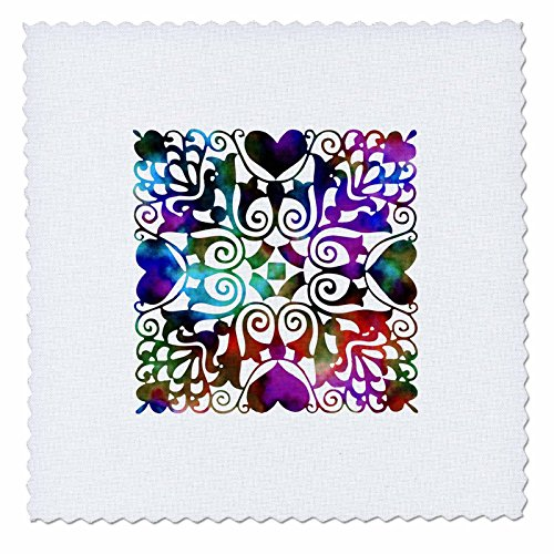 3dRose Russ Billington Designs - Hearts and Flowers Tile Design in Blue Green Watercolors on White - 6x6 inch quilt square (qs_262265_2) (Russ Craft Heart)