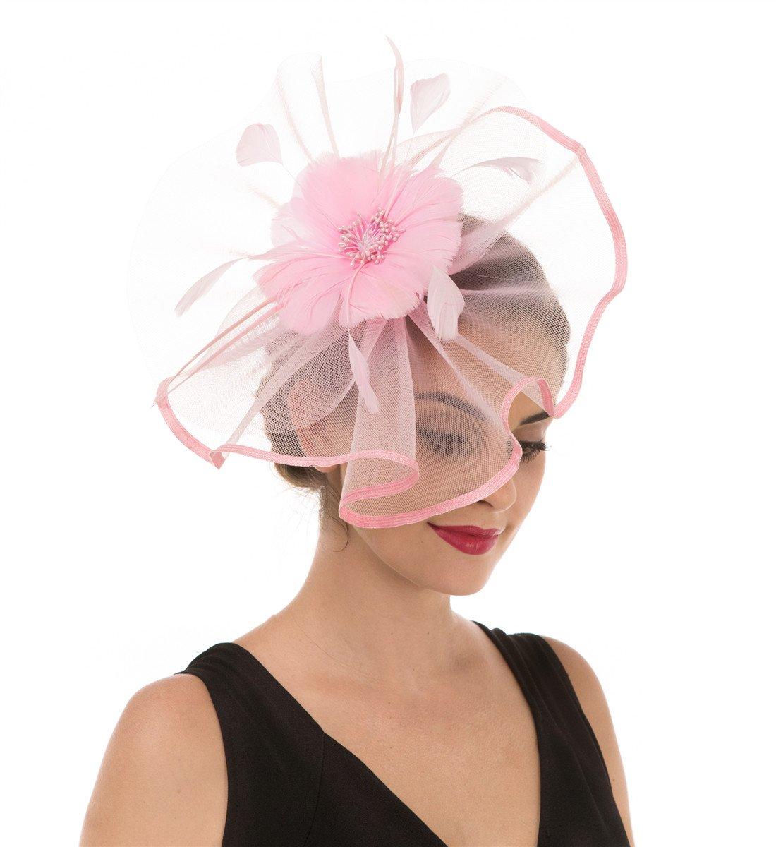 944b3470048 SAFERIN Pink Fascinator Hat Feather Mesh Net Veil Wedding Party Hat Flower Kentucky  Derby Hat Clip Hairband Women (TA1-Pink) - unknown   Hats   Caps ...