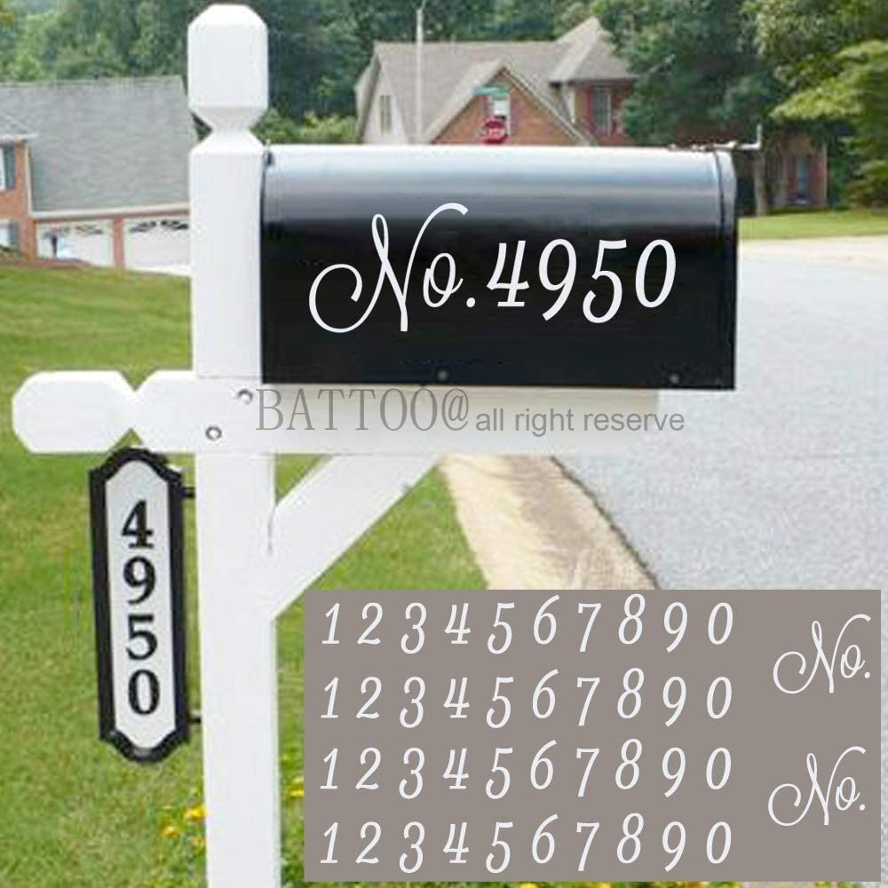 Mailbox Numbers Sticker Decal Die Cut Script White No. Self Adhesive 4 Sets Vinyl Number White for Mailbox, Signs, Window, Door, Cars, Trucks, Home, Business, Address Number, Indoor or Outdoor