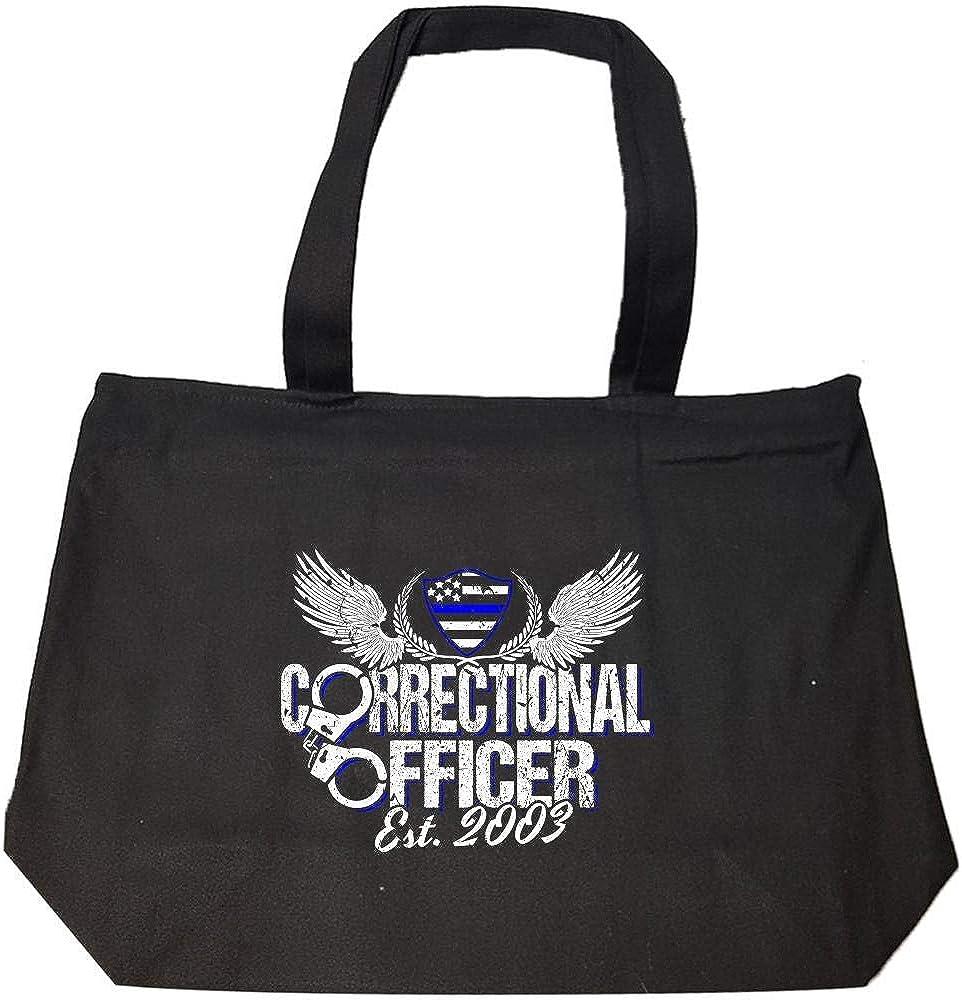 2003 Proud Prison Guard Thin Blue Line Flag Corrections Officer Est Fashion Zip Tote Bag
