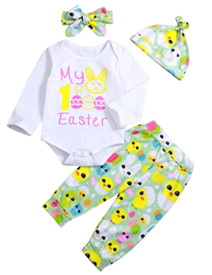 ce4f13bc7 Easter Outfit Newborn Baby Boy Girl My 1st Easter Egg Bunny Chick Print  Romper and Pants