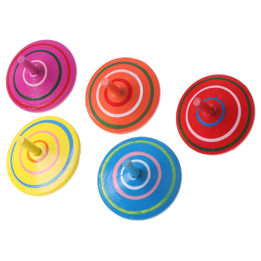 sixinu回転Multicolour木製Spinning Top Kids Toy Traditional Baby Toys B07CVBGL5V