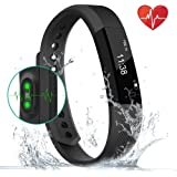 Fitness Tracker Smart Watch with Heartbeat Monitor Step Tracker Calorie Counter Call SMS Whatsapp, Touch Screen Wristband Waterproof Activity Tracker Pedometer for IOS Android Phone-Black