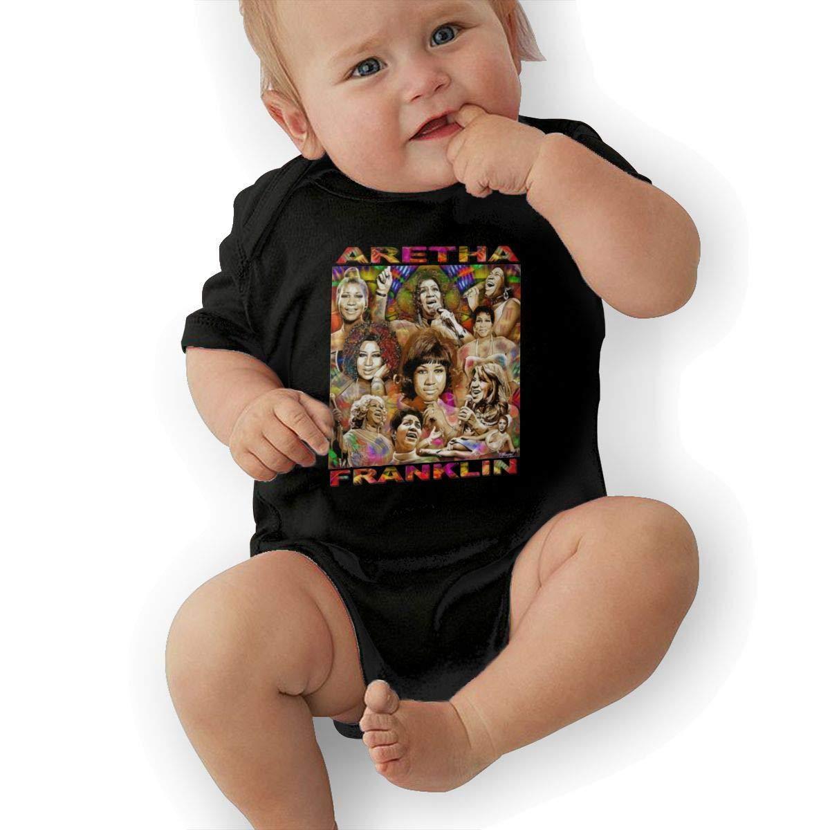 Infant Aretha Franklin Cute Soft Music Band Jersey Bodysuit,Black,6M