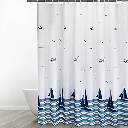 Eforgift Extra Long Shower Curtain Blue Soft Durable Polyester Antibacterial Waterproof Mildew Proof Bathroom Washable