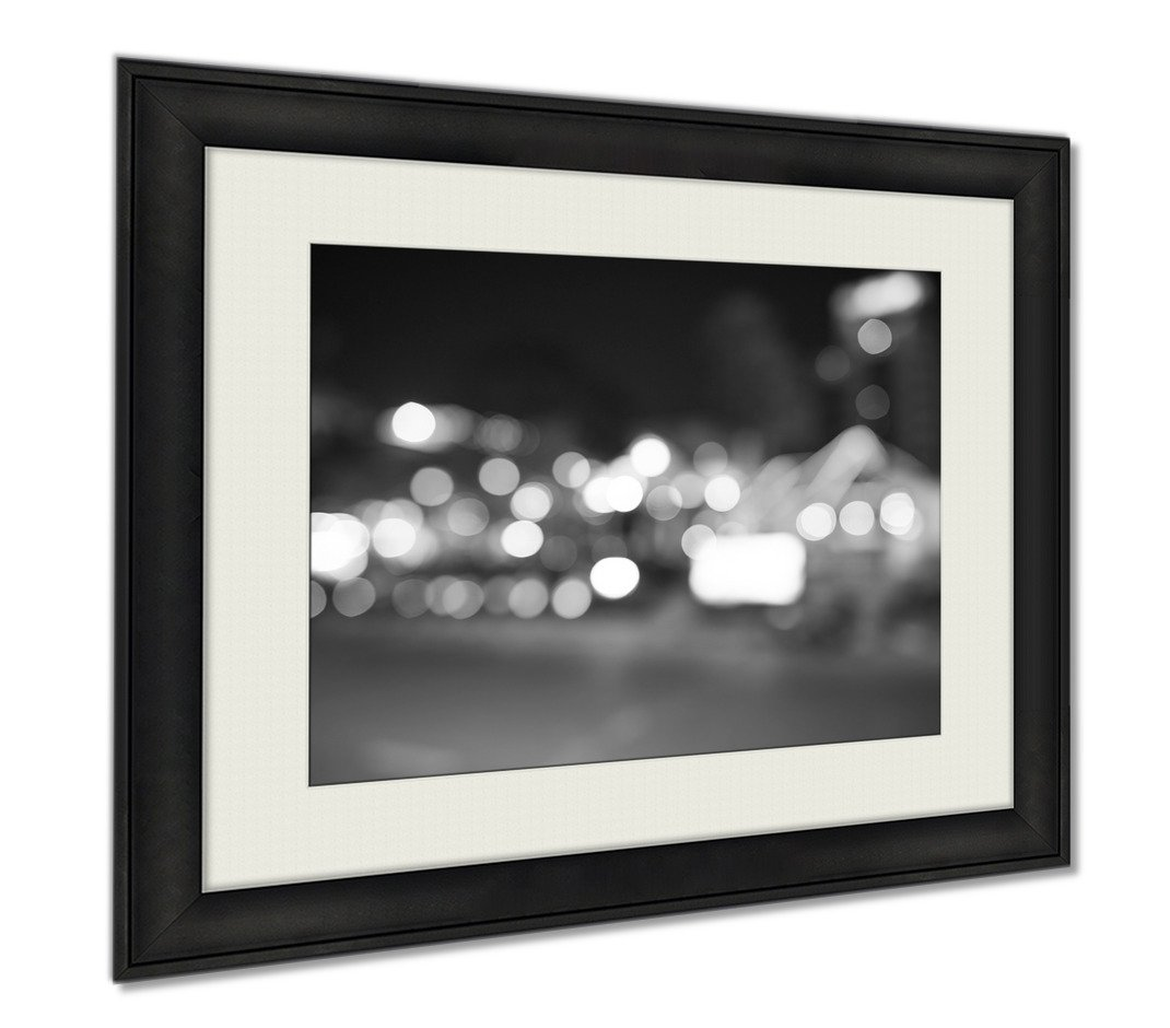 Ashley Framed Prints Defocused Shot Of Pattaya At Night Time, Wall Art Home Decoration, Black/White, 34x40 (frame size), AG5892421