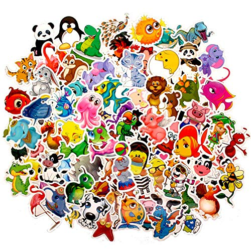 Cartoon Animal Stickers 100 PCS PVC Waterproof Stickers for Craft, Scrapbook, Water Bottle, Skateboard, Laptop, Notebook, Car, Bicycle, Luggage Decoration