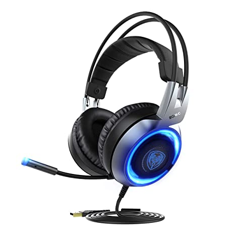 5e3d6f79a67 Amazon.com: SOMIC G951 USB Plug Stereo Sound Gaming Headset for PC, PS4,  Laptop, with Vibration Bass,Mic &RGB LED Lights (Black): Computers &  Accessories