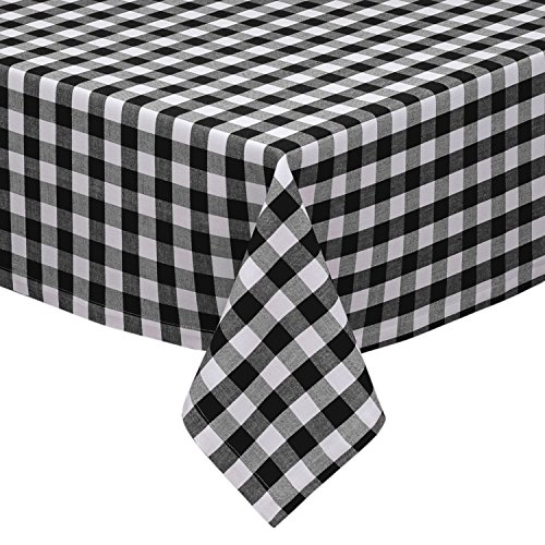 Black and White Checkered Kitchen/Dining Room Tablecloth: Gingham/Plaid Design, Cotton Rich (54