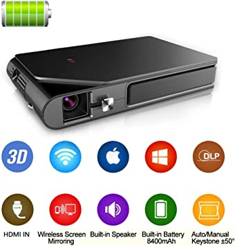 Mini Pico Video Projector DLP WiFi 1080P 3D Gaming Movie, Built-in Battery Auto Keystone, Portable Pocket Projector Airplay Wireless Mirror USB HDMI ...