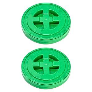 QWORK 2 Pack 5 Gallon Seal Lid, Plastic Bucket Lids, Green