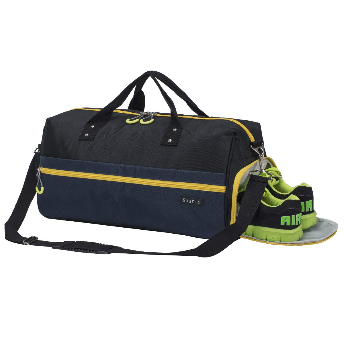 Kuston Sports Gym Bag with Shoes Compartment Travel Duffel Bag for Men and Women (Black Blue)