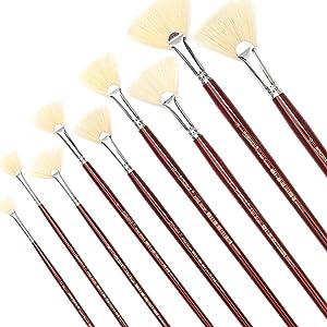 White Bristles Fan Paint Brushes, Profession Artist Oil Acrylic Painting Brush Set, Long Handle 9 Pcs