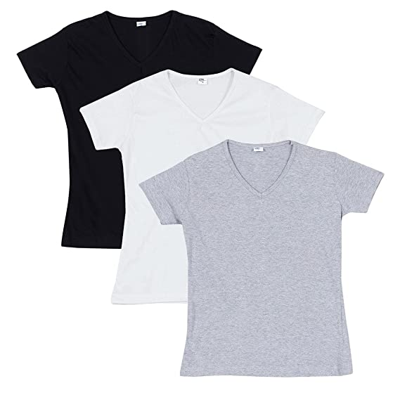 c42be7fd72eb FLEXIMAA Women's Cotton Plain V-Neck T-Shirts (Pack of 3): Amazon.in ...