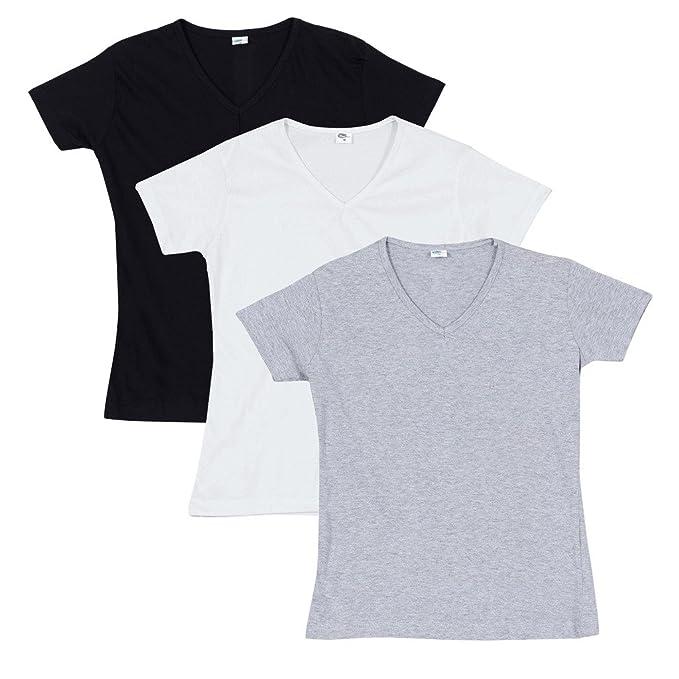 Fleximaa Women S Cotton Plain V Neck T Shirts Pack Of 3