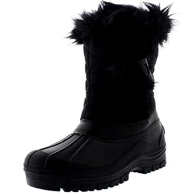 Polar Mujer Toggle Pato Invierno Térmico Suela De Goma Nieve Impermeable Mitad De La Pantorrilla Botas - Negro - UK9/EU42 - YC0394: Amazon.es: Zapatos y ...