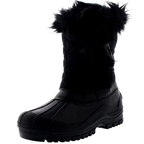 Womens Toggle Waterproof Winter Muck Thermal Mid Calf Boots - Black -  US8/EU39 -