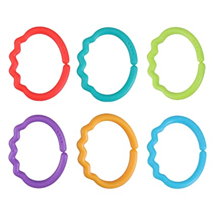 24pcs Baby Teether Rings Links Toys Non-toxic Strollers Car Seat Toys for Baby