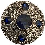 Scottish Fly Plaid Brooch Green 5 Stone Silver Antique 4''/Celtic Kilt Pin & Brooches (Flt Plaid Brooch Blue Stone)