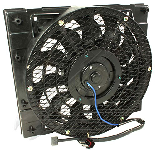 APDTY 7316712 AC Condenser Cooling Fan Assembly Fits 1994-2008 Isuzu NPR (Includes Plug n Play Fan Motor, Fan Blade, Fan Shroud; Replaces 8971834850, 8973838080)