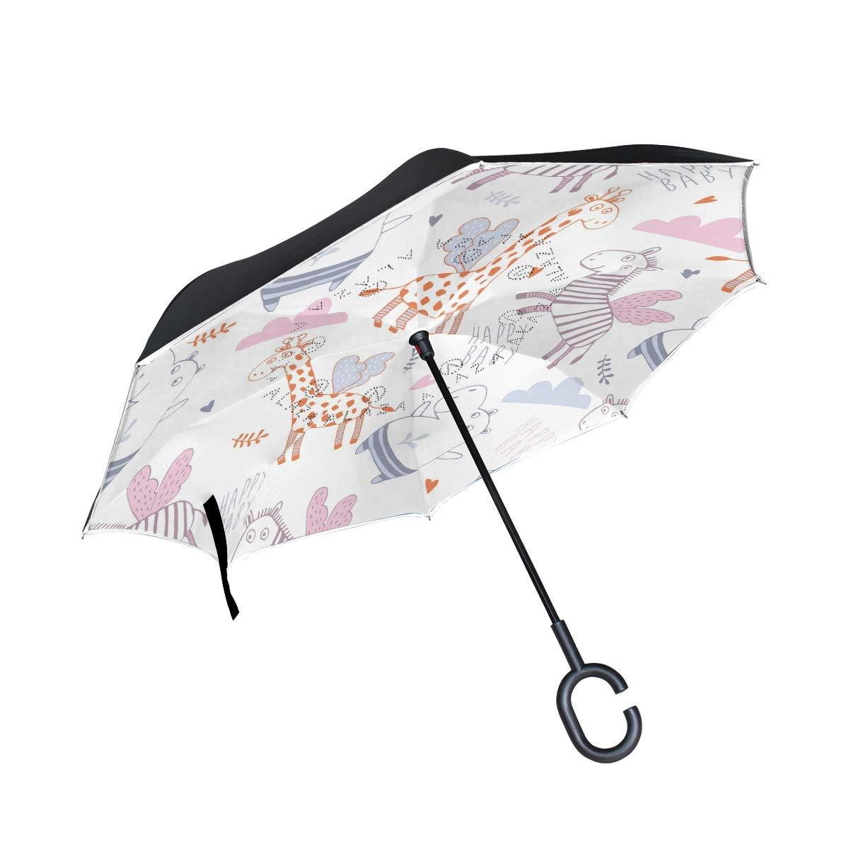 OKONE Envers inversé Ouverture Automatique Parapluie Compact léger Droites parapluies avec Dessin animé Girafe Zebra Hippo pour Auto et à l'extérieur