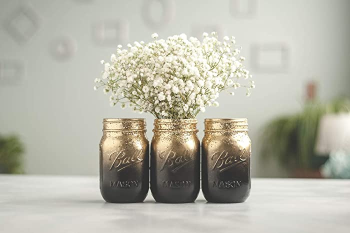 Amazon Set Of 3 Gold And Black Vases Ombre Painted Mason Jars