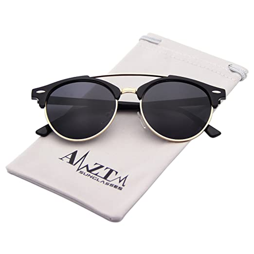42ef13d52835 Amazon.com  AMZTM Classic Double Bridge Men Aviator Sunglasses Semi-Rimless  Retro Polarized Round Driving Shades (Bright Black
