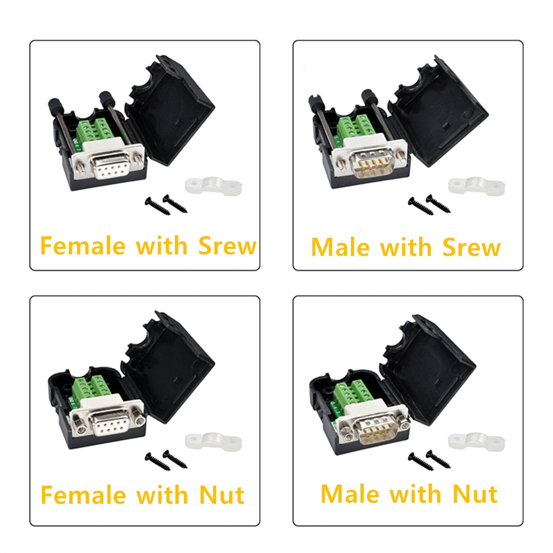 Male with Nut Oiyagai DB9 D-SUB RS232 VGA Adapter 9 Pin Signals Terminal Breakout Plastic Cover 2 Row